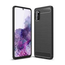 RMPACK Samsung Galaxy A41 Szilikon Tok Ütésállókivitel Karbon Mintázattal Fekete