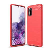RMPACK Samsung Galaxy A41 Szilikon Tok Ütésállókivitel Karbon Mintázattal Piros