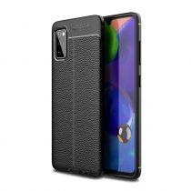 RMPACK Samsung Galaxy A41 Szilikon Tok Bőrmintázattal TPU Prémium Fekete