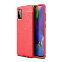 RMPACK Samsung Galaxy A41 Szilikon Tok Bőrmintázattal TPU Prémium Piros