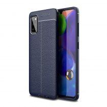 RMPACK Samsung Galaxy A41 Szilikon Tok Bőrmintázattal TPU Prémium Sötétkék