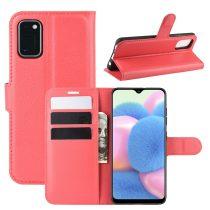 RMPACK Samsung Galaxy A41 Notesz Tok Business Series Kitámasztható Bankkártyatartóval Piros
