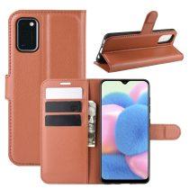 RMPACK Samsung Galaxy A41 Notesz Tok Business Series Kitámasztható Bankkártyatartóval Barna