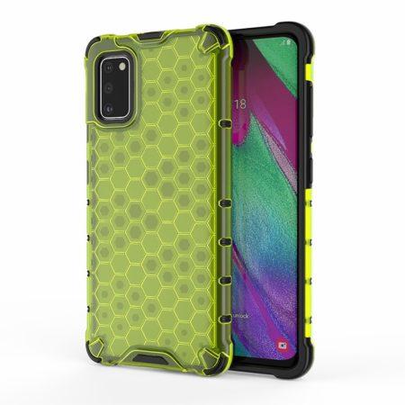 RMPACK Samsung Galaxy A41 Shock-Proof Szilikon Tok Ütésálló Kivitel Honeycomb Style Zöld