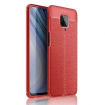 RMPACK Xiaomi Redmi Note 9S / Note 9 Pro Szilikon Tok Bőrmintázattal TPU Prémium Piros