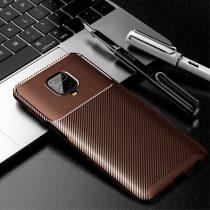 RMPACK Xiaomi Redmi Note 9S / Note 9 Pro Tok Szilikon TPU Carbon Fiber - Karbon Minta Barna
