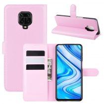 RMPACK Xiaomi Redmi Note 9S / Note 9 Pro Notesz Tok Business Series Kitámasztható Bankkártyatartóval Rózsaszín