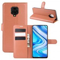 RMPACK Xiaomi Redmi Note 9S / Note 9 Pro Notesz Tok Business Series Kitámasztható Bankkártyatartóval Barna