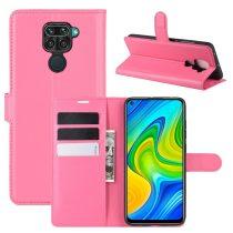 RMPACK Xiaomi Redmi Note 9 Notesz Tok Business Series Kitámasztható Bankkártyatartóval Pink