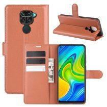 RMPACK Xiaomi Redmi Note 9 Notesz Tok Business Series Kitámasztható Bankkártyatartóval Barna