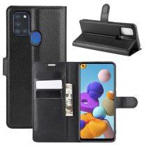 RMPACK Samsung Galaxy A21S Notesz Tok Business Series Kitámasztható Bankkártyatartóval Fekete