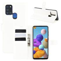 RMPACK Samsung Galaxy A21S Notesz Tok Business Series Kitámasztható Bankkártyatartóval Fehér