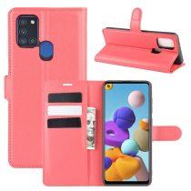 RMPACK Samsung Galaxy A21S Notesz Tok Business Series Kitámasztható Bankkártyatartóval Piros