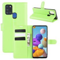 RMPACK Samsung Galaxy A21S Notesz Tok Business Series Kitámasztható Bankkártyatartóval Zöld