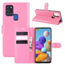 RMPACK Samsung Galaxy A21S Notesz Tok Business Series Kitámasztható Bankkártyatartóval Pink