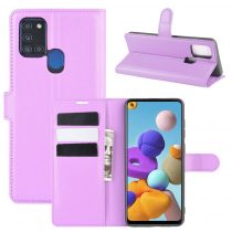 RMPACK Samsung Galaxy A21S Notesz Tok Business Series Kitámasztható Bankkártyatartóval Lila