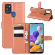 RMPACK Samsung Galaxy A21S Notesz Tok Business Series Kitámasztható Bankkártyatartóval Barna