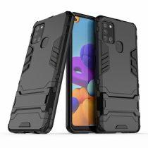 RMPACK Samsung Galaxy A21S 2in1 Tok Ütésálló - Kitámasztható TPU Hybrid Fekete