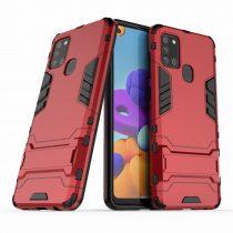 RMPACK Samsung Galaxy A21S 2in1 Tok Ütésálló - Kitámasztható TPU Hybrid Piros