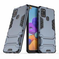 RMPACK Samsung Galaxy A21S 2in1 Tok Ütésálló - Kitámasztható TPU Hybrid Sötétkék