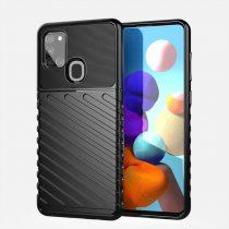 RMPACK Samsung Galaxy A21S Szilikon Tok Twill Ütésálló Thunder Series Kivitel Fekete