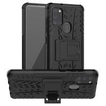 RMPACK Samsung Galaxy A21S Ütésálló Tok Kitámasztható 2in1 Hybrid Fekete