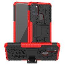 RMPACK Samsung Galaxy A21S Ütésálló Tok Kitámasztható 2in1 Hybrid Piros