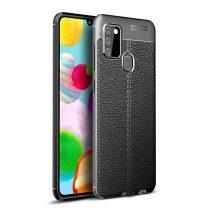RMPACK Samsung Galaxy A21S Szilikon Tok Bőrmintázattal TPU Prémium Fekete