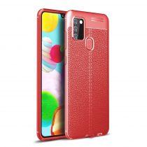 RMPACK Samsung Galaxy A21S Szilikon Tok Bőrmintázattal TPU Prémium Piros