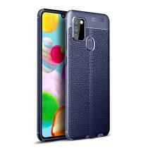 RMPACK Samsung Galaxy A21S Szilikon Tok Bőrmintázattal TPU Prémium Sötétkék