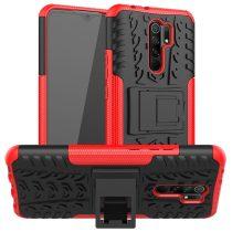 RMPACK Xiaomi Redmi 9 Ütésálló Tok Kitámasztható 2in1 Hybrid Piros