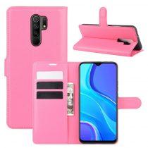 RMPACK Xiaomi Redmi 9 Notesz Tok Business Series Kitámasztható Bankkártyatartóval Pink