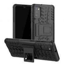 RMPACK Samsung Galaxy A41 Ütésálló Tok Kitámasztható 2in1 Hybrid Fekete