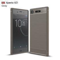 RMPACK Sony Xperia XZ1 Szilikon Tok Ütésállókivitel Karbon Mintázattal Szürke
