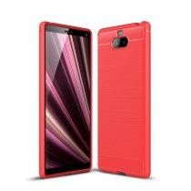 RMPACK Sony Xperia 10 Szilikon Tok Ütésállókivitel Karbon Mintázattal Piros
