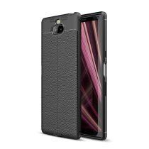 RMPACK Sony Xperia 10 Szilikon Tok Bőrmintázattal TPU Prémium Fekete