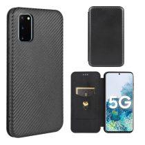 RMPACK Samsung Galaxy S20 FE Notesz Tok Karbon Mintás Fekete