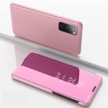 RMPACK Samsung Galaxy S20 FE View Window Notesz Tok Tükörfelülettel Rózsaarany