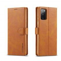 RMPACK Samsung Galaxy S20 FE Business IMEEKE Notesz Tok Prémium Világosbarna