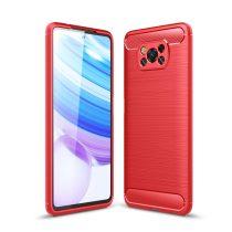 RMPACK Xiaomi Poco X3 Szilikon Tok Ütésállókivitel Karbon Mintázattal Piros