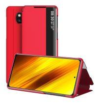 RMPACK Xiaomi Poco X3 Notesz Tok View Window Kitámasztható Piros