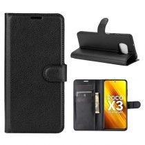RMPACK Xiaomi Poco X3 Notesz Tok Business Series Kitámasztható Bankkártyatartóval Fekete