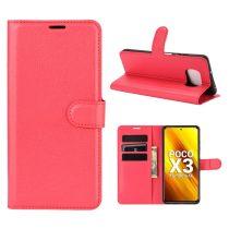 RMPACK Xiaomi Poco X3 Notesz Tok Business Series Kitámasztható Bankkártyatartóval Piros
