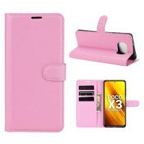 RMPACK Xiaomi Poco X3 Notesz Tok Business Series Kitámasztható Bankkártyatartóval Rózsaszín