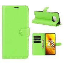 RMPACK Xiaomi Poco X3 Notesz Tok Business Series Kitámasztható Bankkártyatartóval Zöld