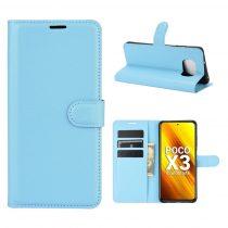 RMPACK Xiaomi Poco X3 Notesz Tok Business Series Kitámasztható Bankkártyatartóval Világoskék