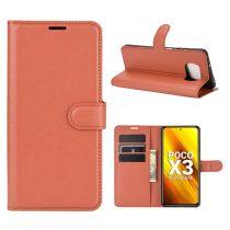 RMPACK Xiaomi Poco X3 Notesz Tok Business Series Kitámasztható Bankkártyatartóval Barna