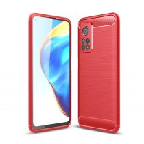 RMPACK Xiaomi Mi 10T 5G / Mi 10T Pro 5G Szilikon Tok Ütésállókivitel Karbon Mintázattal Piros