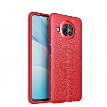 RMPACK Xiaomi Mi 10T Lite 5G Szilikon Tok Bőrmintázattal TPU Prémium Piros