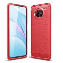 RMPACK Xiaomi Mi 10T Lite 5G Szilikon Tok Ütésállókivitel Karbon Mintázattal Piros